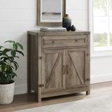 Red Barrel Studio® Modern Farmhouse Double Barn Door Accent Cabinet, 30 Inch, White Oak in Gray, Size 33.0 H x 16.0 W x 30.0 D in   Wayfair