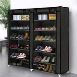Rebrilliant 7 Tier Shoe Rack Storage Organizer, 36 Pairs Portable Double Row Shoe Rack Shelf Cabinet Tower For Closet w/ Nonwoven Fabric Cover