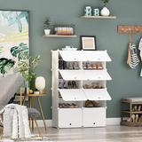 Rebrilliant Shoe Racks, Portable Shoe Storage Organizers, Modular Cabinet Cube For Space Saving, Shelves For Shoes Boots Slippers, White | Wayfair