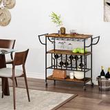 17 Stories Guste 3-Tier Kitchen Serving Utility Bar Cart, Size 33.71 H x 39.37 W x 15.75 D in | Wayfair 7673FF279DA14251B8DB5C1D455F8FB1