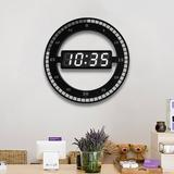 "Orren Ellis 12"" Simple LED Digital Round Electronic Wall Clock Mute () in Black, Size 12.0 H x 12.0 W x 2.0 D in | Wayfair"