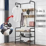 17 Stories Coat Rack Shoe Bench 3-In-1 Hall Tree Storage Shelf Organizer For Entryway Heavy Duty MDF Stand Coat Rack Industrial Accent Furniture w/ Stable Meta