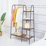 17 Stories Hall Tree, Industrial Entryway Shelf w/ Coat Rack, 4-Tier Display Shelves Hall Tree w/ Bench & Shoe Storage in Brown | Wayfair