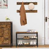 17 Stories Coat Rack Shoe Bench Set, Entryway Shoe Rack w/ Coat Hooks, Coat Hat Bag Hanging Organizer, Industrial Design, Easy Assembly in Brown