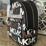 Michael Kors Bags   New Mk Adina Medium Backpack Signature Black Logo Bag With Animal Print   Color: Brown   Size: Os
