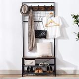 17 Stories Coat Rack Shoe Bench, Industrial Hall Tree, Entryway Storage Shelf, Wood Look Accent Furniture w/ Metal Frame & Hanging Hooks (8030180Cm)