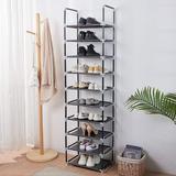 Rebrilliant 10 Tiers Stackable Shoe Rack, Adjustable Shoe Storage Organizer Shelf, Non-Woven Fabric Shoe Tower Shelf () in Black | Wayfair