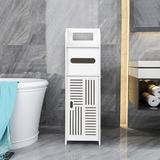 Latitude Run® Bathroom Storage Cabinet Slim Toilet Shelf w/ Toilet Paper Storage in White, Size 25.5 H x 7.8 W x 7.8 D in | Wayfair