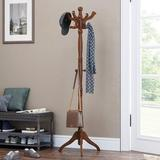 Canora Grey Coat Rack Free Standing w/ 11 Hooks, Wooden Hall Tree Coat Hat Tree Coat Holder w/ Solid Rubberwood Base For Coat, Hat, Clothes, Scarves