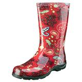 Sloggers Women's Waterproof Rain and Garden Boot with Comfort Insole, Paisley Red, Size 6, Style 5004RD06