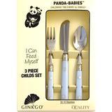 Ginkgo International Panda Babies 3-Piece Stainless Steel Childs Flatware Set, Light Blue