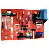 Wall Control 30-WRK-400RB Standard Workbench Metal Pegboard Tool Organizer,Red/Black