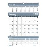 House of Doolittle Bar Harbor Triple Month Wall Calendar 12 Months January 2011 to December 2011, 12 x 17 Inch, Wedgwood Blue, Recycled (HOD342)