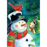 Toland Home Garden 108308 28 x 40 Inch Decorative, Reflection Snowman, House Flag