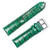 Crocodile Grain Watch Band (Chrono) Green 22mm Long Watch Strap - by deBeer