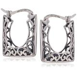 Sterling Silver Bali-Inspired Filigree Square Hoop Earrings