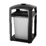 "Rubbermaid FG397001 BLA 35 gal Landmark Series Container - 26x26x40"" Dome Top Frame, Ashtray, Black"