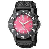 Smith & Wesson Men's Fire Fighters Red Dial Black Band Watch, 3ATM, Black Nylon Strap, 40mm