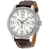 GUESS Men's W10562G1 Round Case Cream Dial Brown Leather Strap Watch