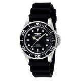 Invicta Men's Pro Diver 40mm Stainless Steel and Black Polyurethane Strap Automatic Watch, Black (Model: 9110)