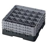Cambro 25S638110 Camrack? Glass Rack w/ (25) Compartments - (3) Gray Extenders, Black
