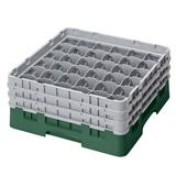 Cambro 36S638119 Camrack? Glass Rack w/ (36) Compartments - (3) Gray Extenders, Sherwood Green