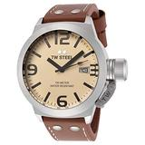 TW Steel Men's TW1 Canteen Brown Leather Yellow Dial Watch