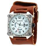 Nemesis Men's Watch Stainless Steel Wide Cuff Band Anlalog White Dial Watch #BIN071W