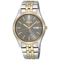 Seiko Men's SNE042 Two-Tone Solar Charcoal Dial Watch