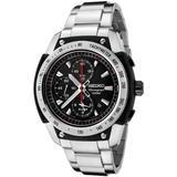 Seiko Men's SNAD47 Chronograph Black Dial Stainless Steel Alarm Watch