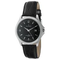 Peugeot Men's 296BK Silver-Tone Black Leather Strap Watch
