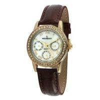 Peugeot Women's 3025 Gold-Tone Swarovski® Crystal Accented Multi-Function Brown Leather Strap Watch
