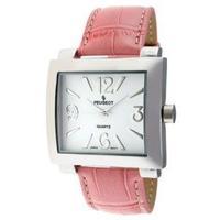 Peugeot Women's 706PK Silver-Tone Pink Leather Strap Watch