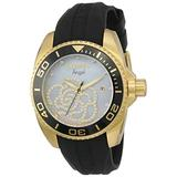 Invicta Women's Angel Gold Tone Stainless Steel and Black Silicone Quartz Watch, Two Tone (Model: 0489)