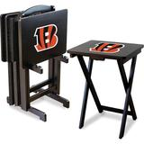 Imperial Officially Licensed NFL Foldable Wood TV Tray Table Set with Stand, Cincinnati Bengals