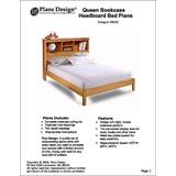 Queen Bookcase Headboard Bed Woodworking Project Plans, #3BCS1
