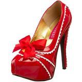 Bordello By Pleaser Women's Teeze-14 Platform Pump,Red/White Patent,8 M US