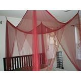 FineHome 4 Poster/Four Corner Burgundy (Red) Bed Canopy Mosquito Net Full Queen King