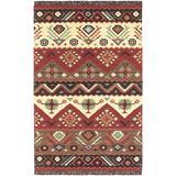 """Surya Jewel Tone Flatweave Hand Woven 100% Wool Carnelian 3'6"""" x 5'6"""" Southwest Area Rug"""