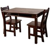 Lipper International Child's Rectangular Table with Shelves and 2 Chairs, Espresso Finish
