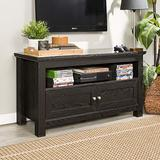 """Walker Edison Simple Rustic Wood Stand for TV's up to 48"""" Living Room Storage, 44 Inch, Black"""