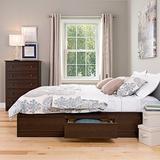 Prepac Mate's Platform Storage Bed with 6 Drawers, Queen, Espresso