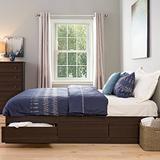 Prepac Mate's Platform Storage Bed with 6 Drawers, King, Espresso