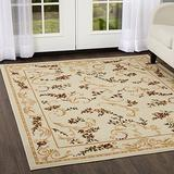 """Home Dynamix Optimum Apollo Area Rug 5'2"""" x7'2 , Traditional Floral Vines, Ivory/Burgundy/Yellow"""