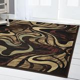 """Home Dynamix Catalina Picasso Contemporary Abstract Area Rug, 7'10"""" x 10'2"""", Black/Brown"""