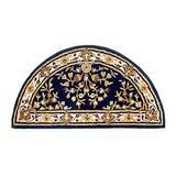 Minuteman International Blue Oriental Wool Hearth Rug, Half Round