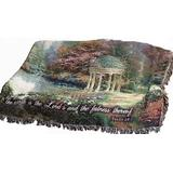 Manual Inspirational Collection Tapestry Throw with Verse, Garden of Prayer by Thomas Kinkade, 60 X 50-Inch