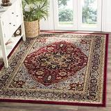 """Safavieh Lyndhurst Collection LNH330B Traditional Oriental Non-Shedding Living Room Bedroom Dining Home Office Area Rug, 5'3"""" x 7'6"""", Red / Black"""
