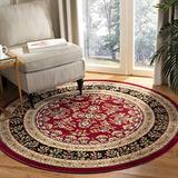 """Safavieh Lyndhurst Collection LNH331B Traditional Oriental Non-Shedding Dining Room Entryway Foyer Living Room Bedroom Area Rug, 5'3"""" x 5'3"""" Round, Red / Black"""