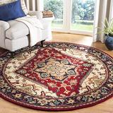Safavieh Heritage Collection HG625A Handmade Traditional Oriental Premium Wool Area Rug, 6' x 6' Round, Red